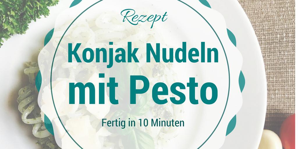 Konjak Nudeln Rezept mit rotem und grünem Pesto